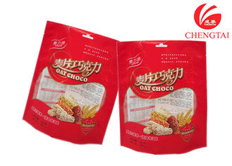 China Red Color Heat Sealable Stand Up Pouches for Cracker Food Packaging supplier