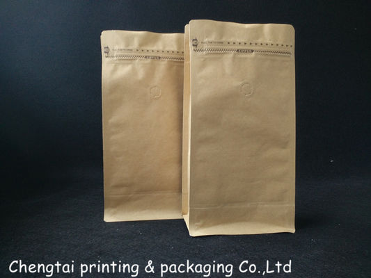 China Custom Printed Natural Kraft Paper Bags / Flat Bottom Coffee Beans Free Standing Pouch Bag supplier
