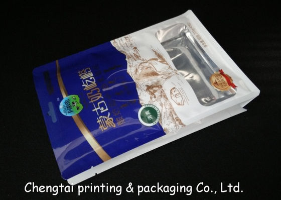 China Gravure Half Side Aluminum Flat Bottom Plastic Bags Stand Up Pouches With Tear Notch supplier