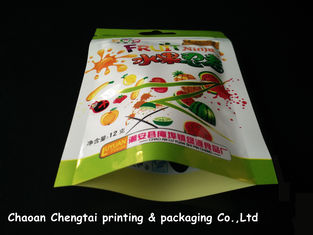 China Food Grade 12g Flat Snack Food Packaging Bags With Zipper / Clear Window supplier