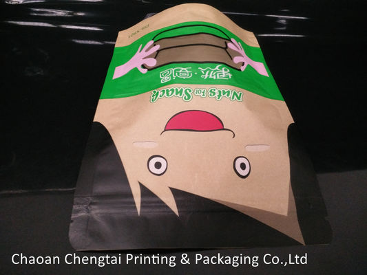 China Snack Food Brown Paper Bag Packaging Pouch / Stand Up Zipper Pouch Easy Carry supplier