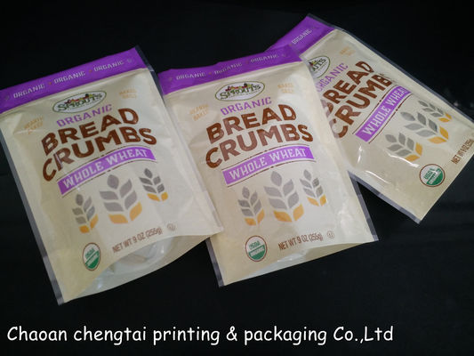 China 9 Oz  255g Stand Up Zipper Pouch Bag For Bread Crumbs / Wheat Packaging supplier