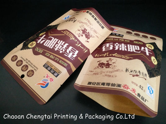 China Kraft Paper Matte Surface Free Standing Punch Bag Three Layer For Snack Packaging supplier