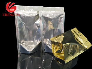 China Golden Stand Up Food Packaging Pouches with Zipper for Cereal , Coffee Beans supplier