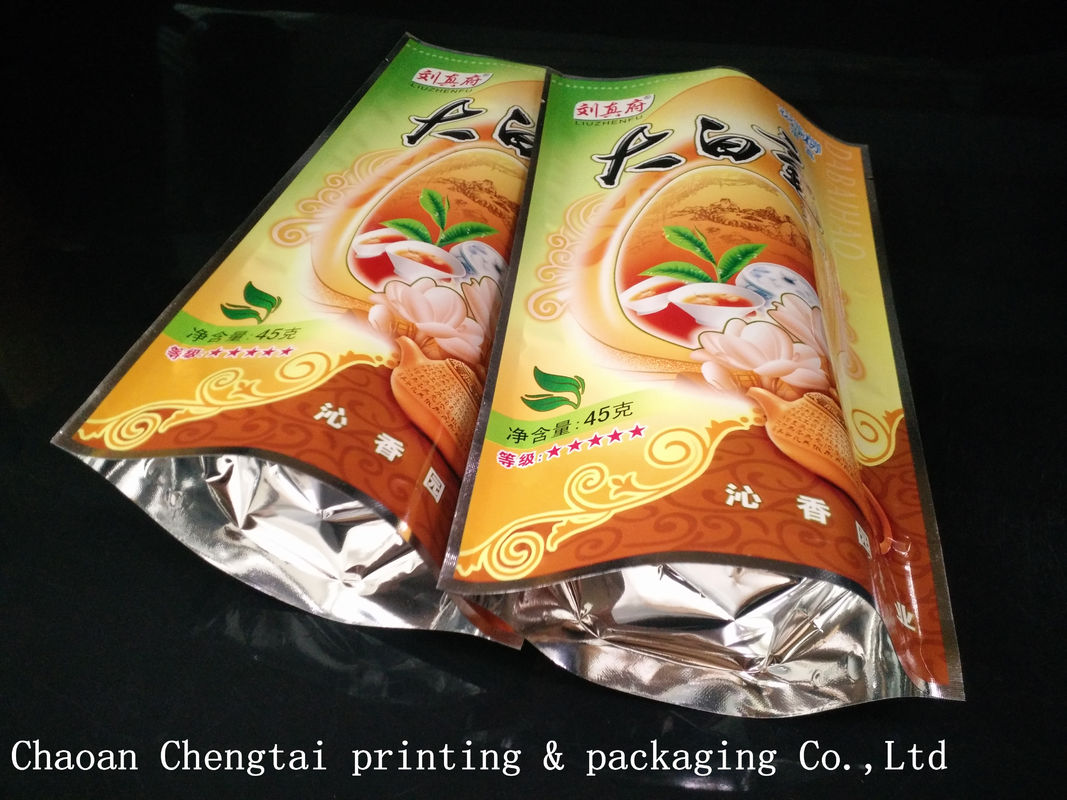 Tea Plastic Packaging 45G Stand Up Pouches With 0 - 9 Colors