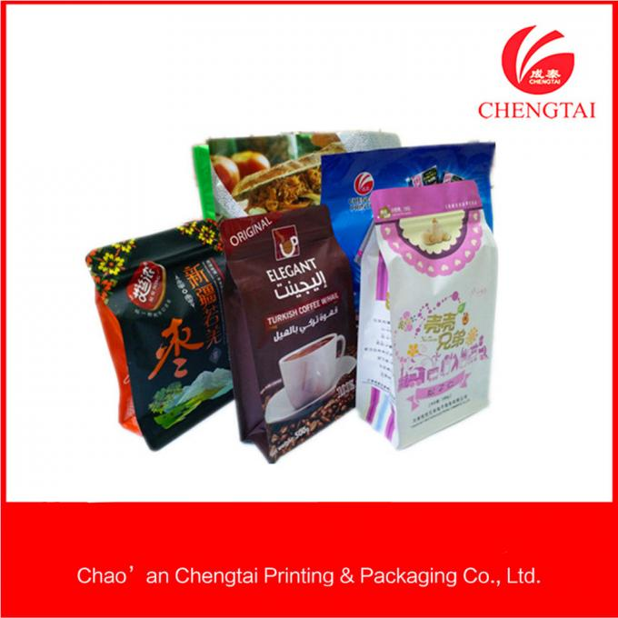 Opaque Food Packaging Flat Bottom Pouches / Pouch Zipper Top Custom Printed