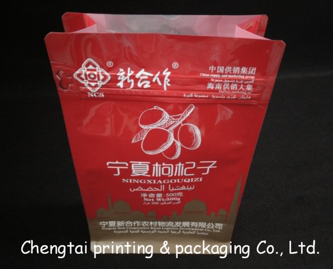 Flat Bottom Plastic Snack Packaging Bags / Recyclable 500g Quad Seal Pouch
