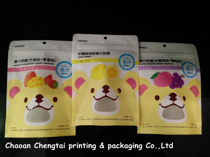 Food Grade Stand Up Zipper Pouch / Packaging Bags Portable Gravure Printing