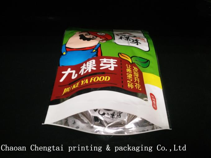 Semi Transparent Window Stand Up Zip Lock Pouches For Snack Food Packaging