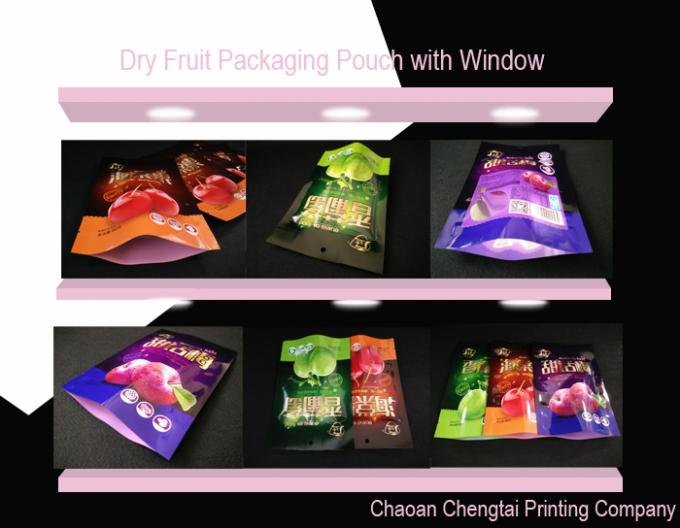 Custom Printed Stand Up Zipper Bags / Packaging Pouch Three Layers For Dry Fruit