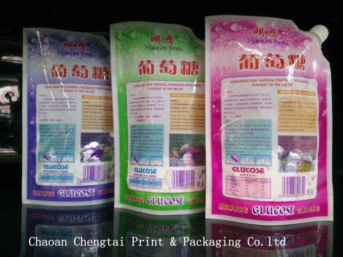Health Printing Liquid Bags With Spout 400g , Stand Up Pouches For Food Packaging