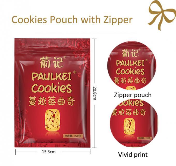 Zipper Three Side Seal Pouch / Aluminum Packaging Bag For Snack Food