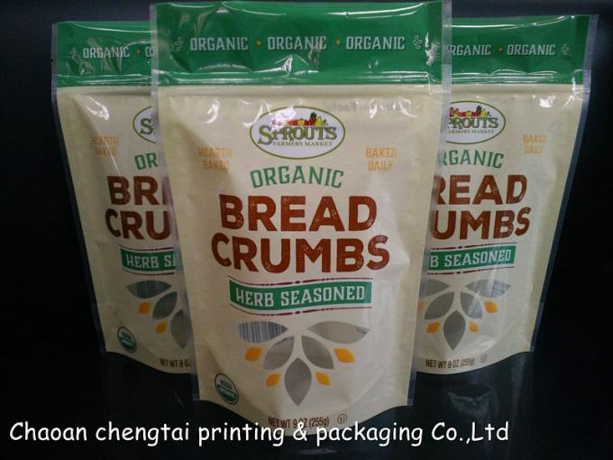 Bread Packaging Stand Up Zipper Pouch With 74 Micron Thickness Food Grade