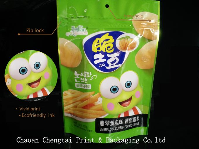 Colorful Reusable Barrier type Stand Up Zip Lock Pouches for Chips Packaging
