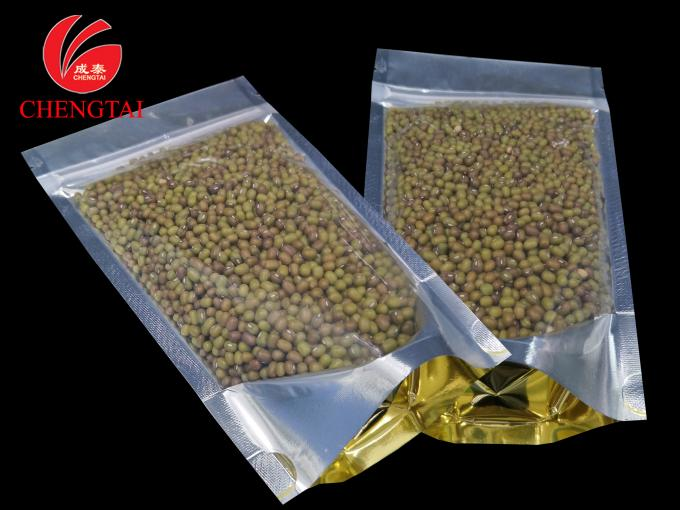Golden Stand Up Food Packaging Pouches with Zipper for Cereal , Coffee Beans