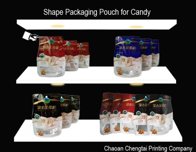 Eco - Friendly BOPP Compound Shaped Pouches With Transparent Window Gravure Printing