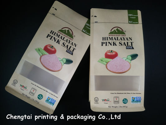 China Himalayan Salt Paper Pouch Packaging Kraft Paper Pouch With Zip Lock / Block Bottom distributor
