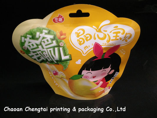China Children Food Packaging Shaped Pouches With Metallic Inside QS Certification factory