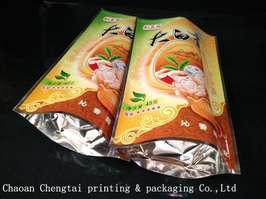 China Tea Plastic Packaging 45G Stand Up Pouches With 0 - 9 Colors Digital Printing distributor