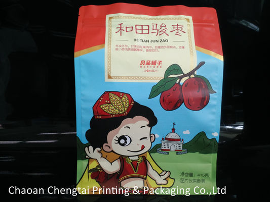 China 415g Flat Bottom Pouches / Dry Fruit Packaging Bags Heat Sealing Non Toxic distributor