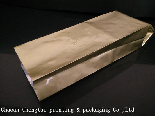 China Golden Color Custom Coffee Packaging For Coffee Bean With Valve , Alu Laminated Material factory
